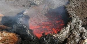Lava and magma volcano