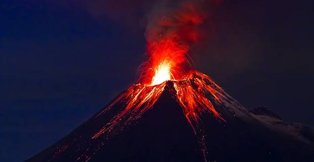 Volcano in eruption