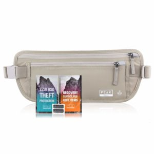 Travel Money Belt with RFID Block - Theft Protection and Global Recovery Tags (Beige REG - fits most)