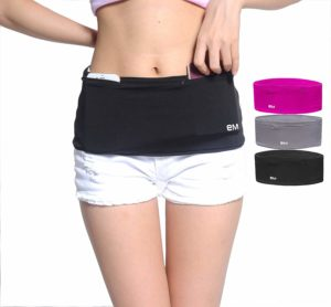 EAZYMATE Fashion Running Belt - Travel Money Belt with Zipper Pockets Fit All Smartphones and Passport - Black-S