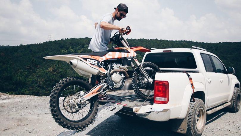 loading a dirt bike into a truck